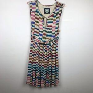 Anthropologie Maeve Chevron Belted Pocket Dress M